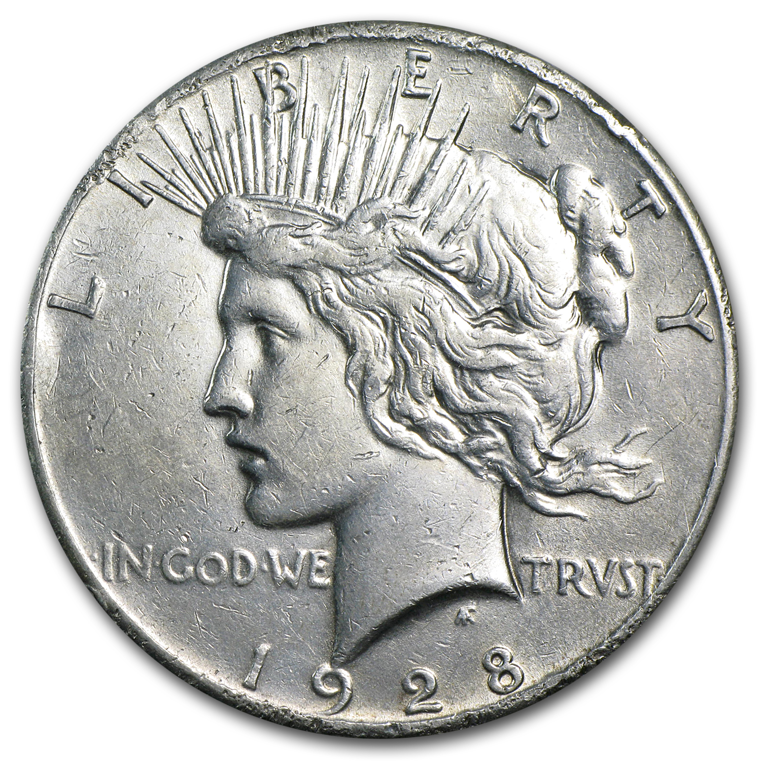 1928 Peace Dollar - Almost Uncirculated Details - Rim Bumps